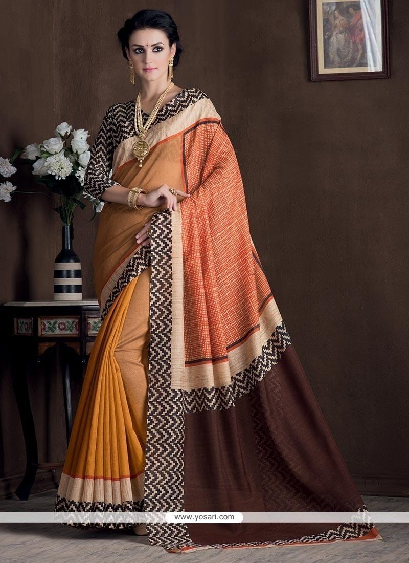 Superlative Multi Colour Print Work Bhagalpuri Silk Casual Saree