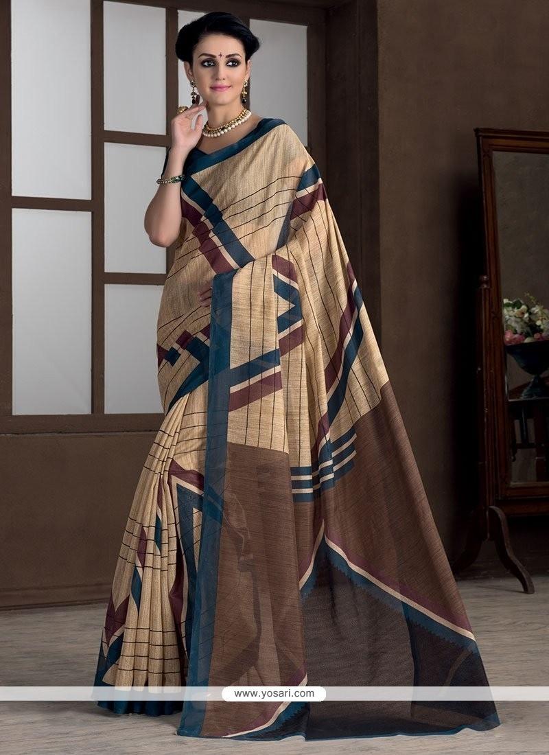Refreshing Beige Bhagalpuri Silk Casual Saree