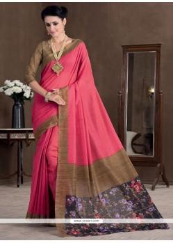 Masterly Hot Pink Bhagalpuri Silk Casual Saree
