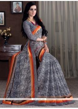 Customary Bhagalpuri Silk Grey Print Work Printed Saree
