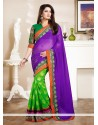 Green And Violet Shade Georgette Saree