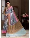 Imposing Multi Colour Bhagalpuri Silk Printed Saree