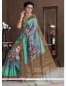Amusing Multi Colour Print Work Bhagalpuri Silk Casual Saree