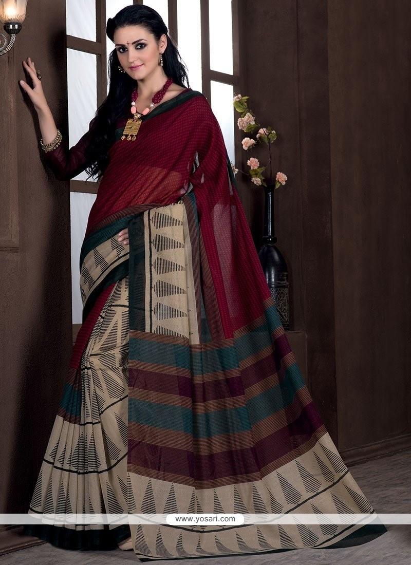 Demure Print Work Bhagalpuri Silk Casual Saree