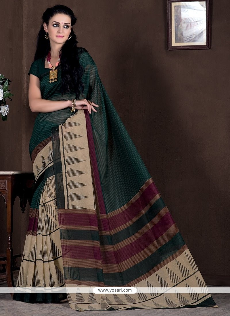 Glamorous Bhagalpuri Silk Print Work Casual Saree
