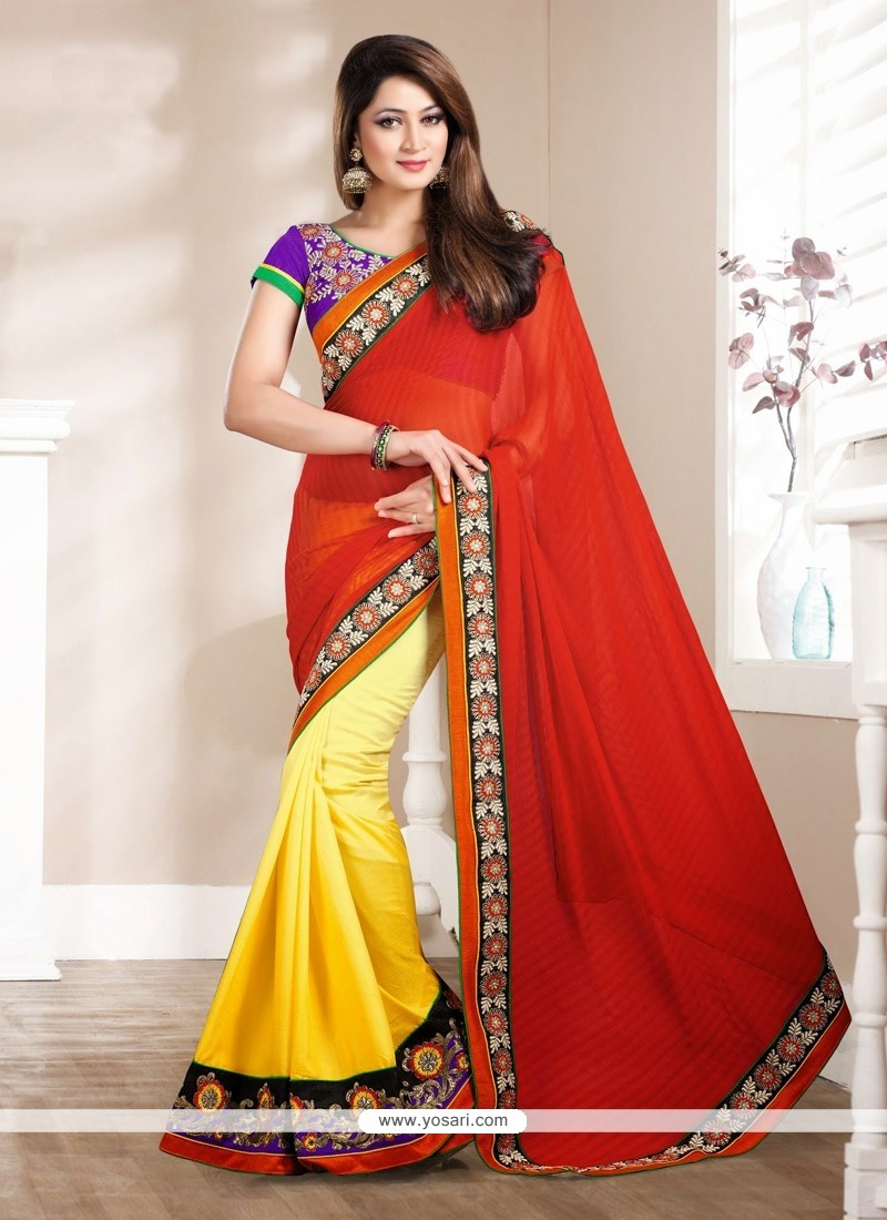 Fabulose Yellow And Red Cotton Saree