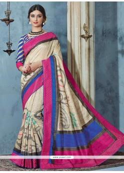 Charming Bhagalpuri Silk Multi Colour Printed Saree