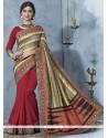 Piquant Bhagalpuri Silk Red Printed Saree