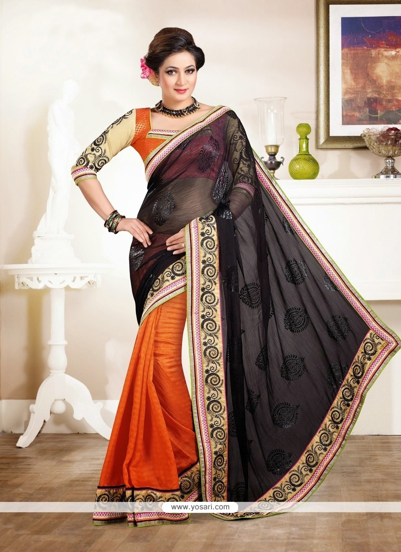 Splendid Orange And Black Chiffon Saree