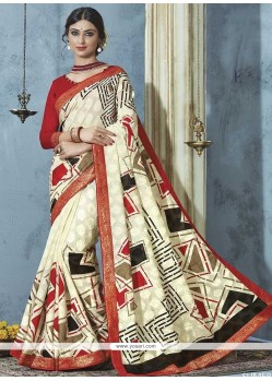 Piquant Multi Colour Print Work Printed Saree