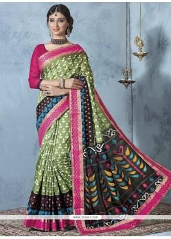 Stupendous Bhagalpuri Silk Multi Colour Printed Saree