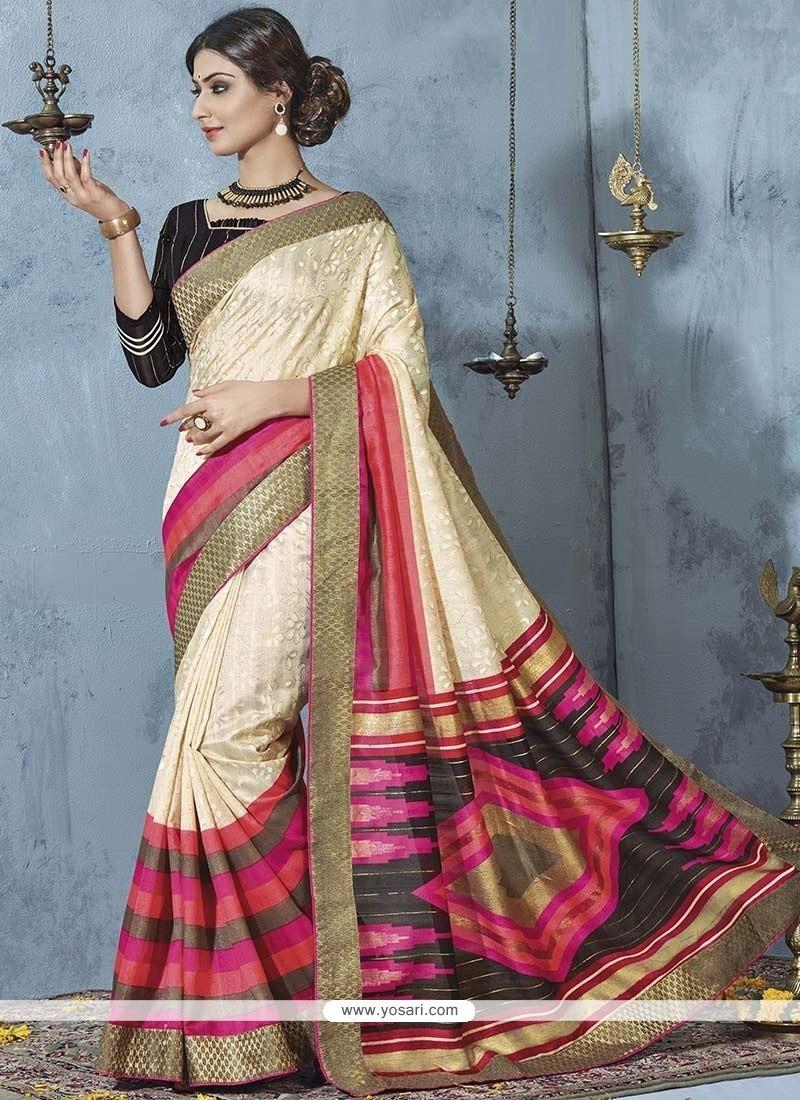 Cream Patch Border Work Bhagalpuri Silk Printed Saree