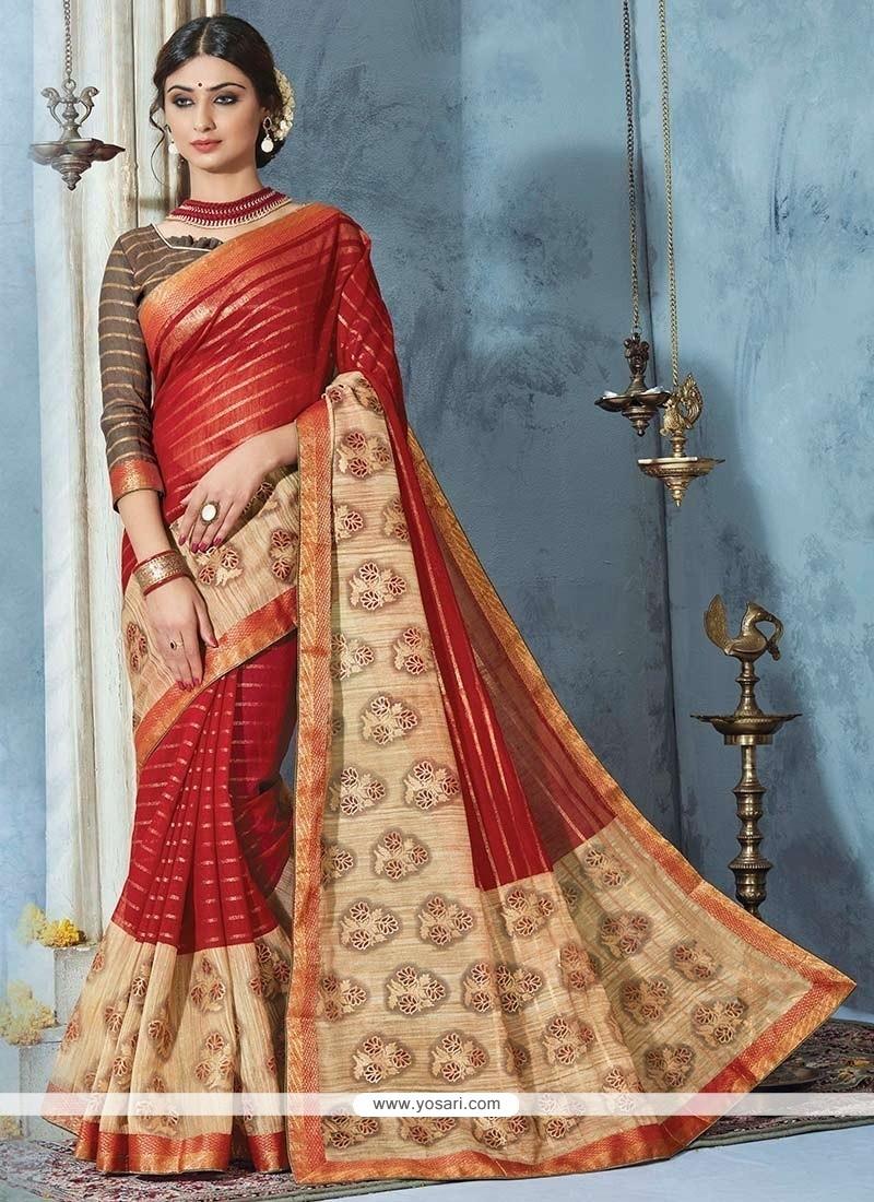 Conspicuous Maroon Print Work Bhagalpuri Silk Printed Saree