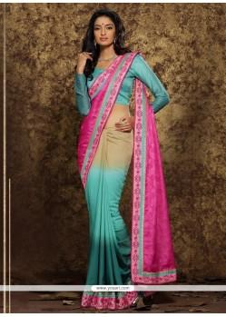 Hypnotizing Viscose Multi Colour Patch Border Work Classic Designer Saree