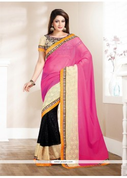 Dazzling Black And Pink Brasso Saree