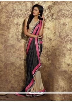 Exotic Beige And Black Trendy Saree