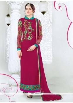 Pleasance Hot Pink Georgette Designer Straight Salwar Kameez