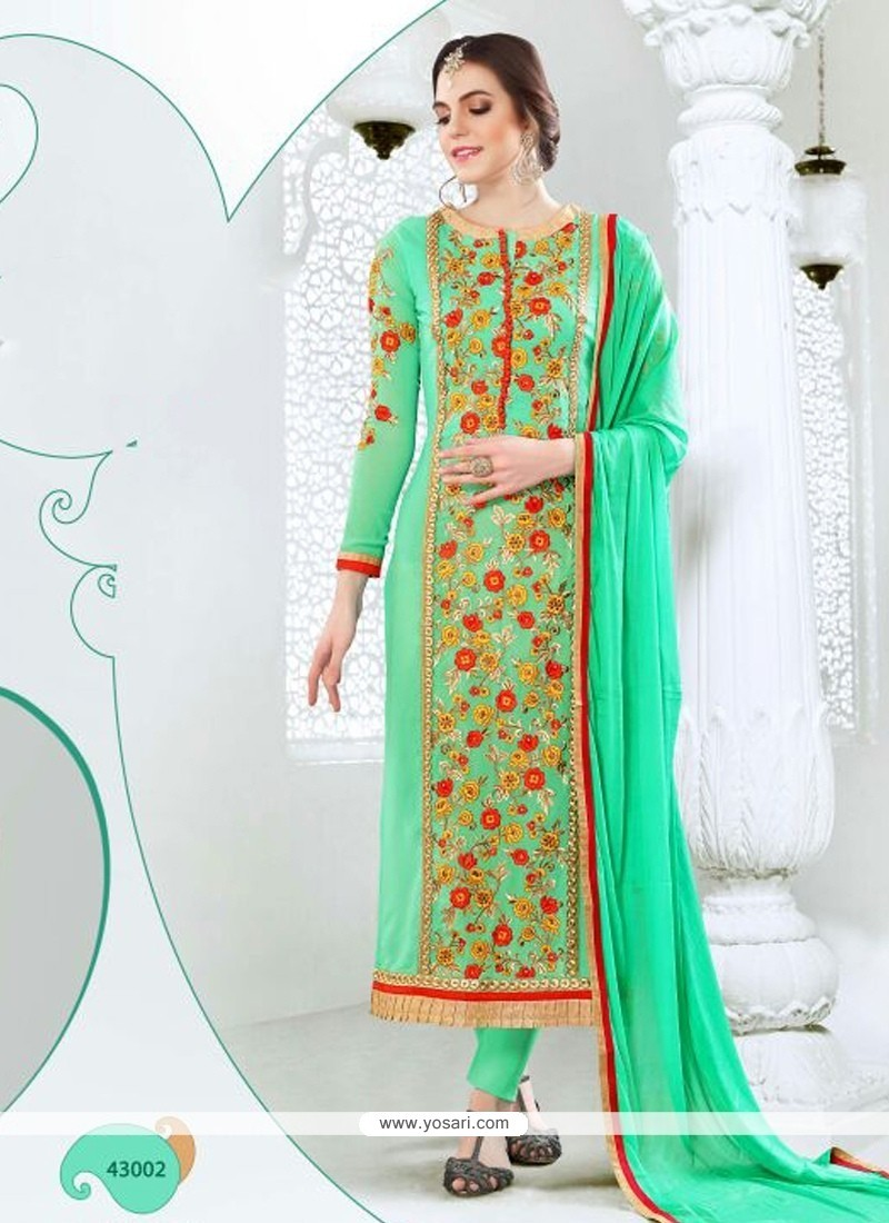 Gleaming Embroidered Work Georgette Green Churidar Designer Suit