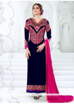 Awesome Blue Resham Work Georgette Designer Straight Salwar Kameez