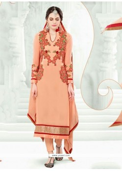Blissful Resham Work Peach Pant Style Suit