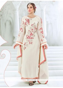 Specialised White Georgette Designer Straight Salwar Kameez