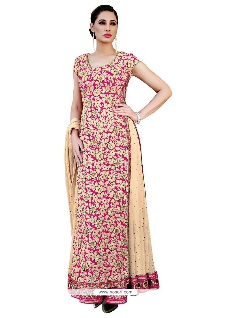 Paramount Beige Embroidered Work Georgette Anarkali Salwar Kameez