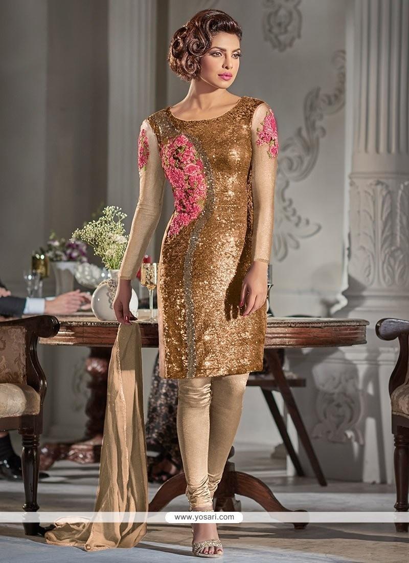 Spellbinding Sequins Work Georgette Designer Suit