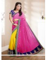 Yellow And Pink Georgette Designer Saree