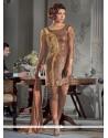 Sophisticated Georgette Brown Embroidered Work Designer Suit