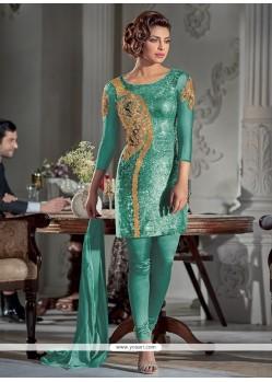 Mystic Embroidered Work Georgette Sea Green Designer Suit