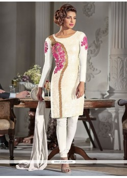 Lavish Georgette Off White Embroidered Work Designer Suit