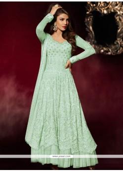 Suave Georgette Turquoise Embroidered Work Anarkali Salwar Kameez