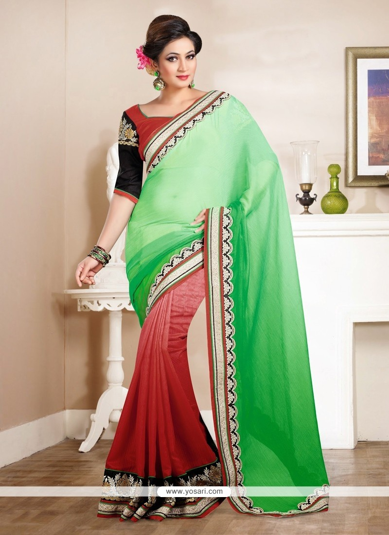 Red And Green Georgette Saree