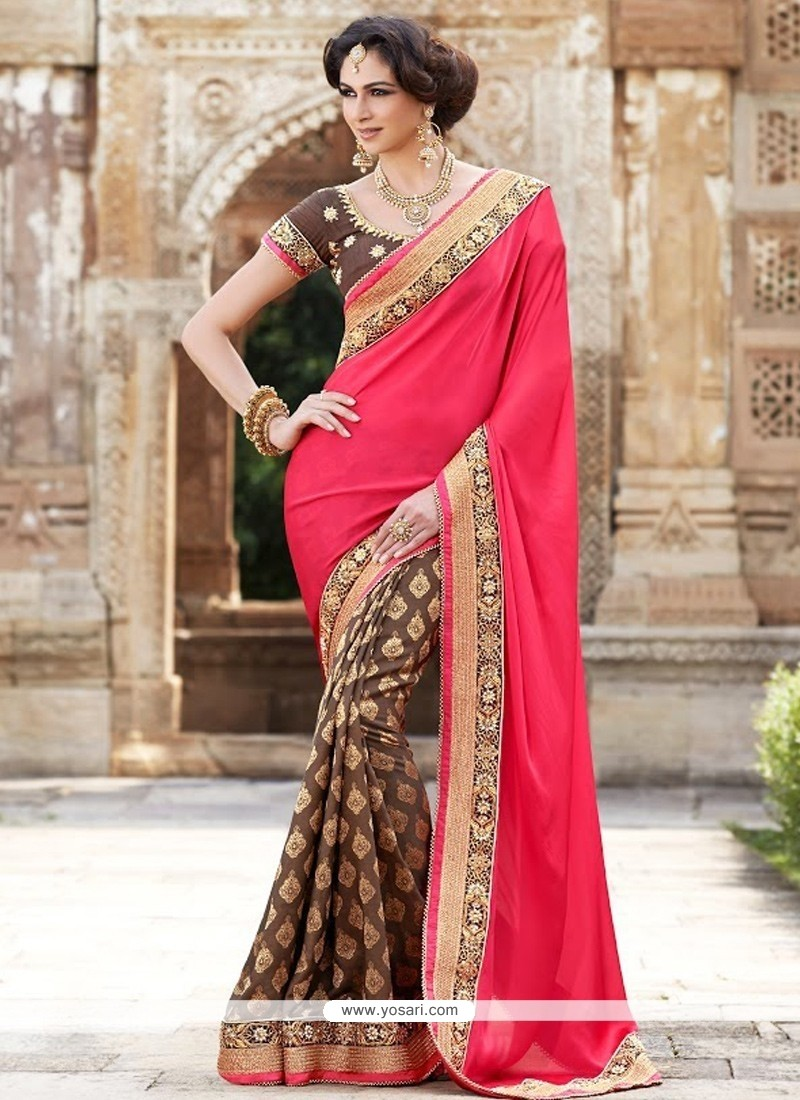 Red And Brown Georgette Half And Half Saree
