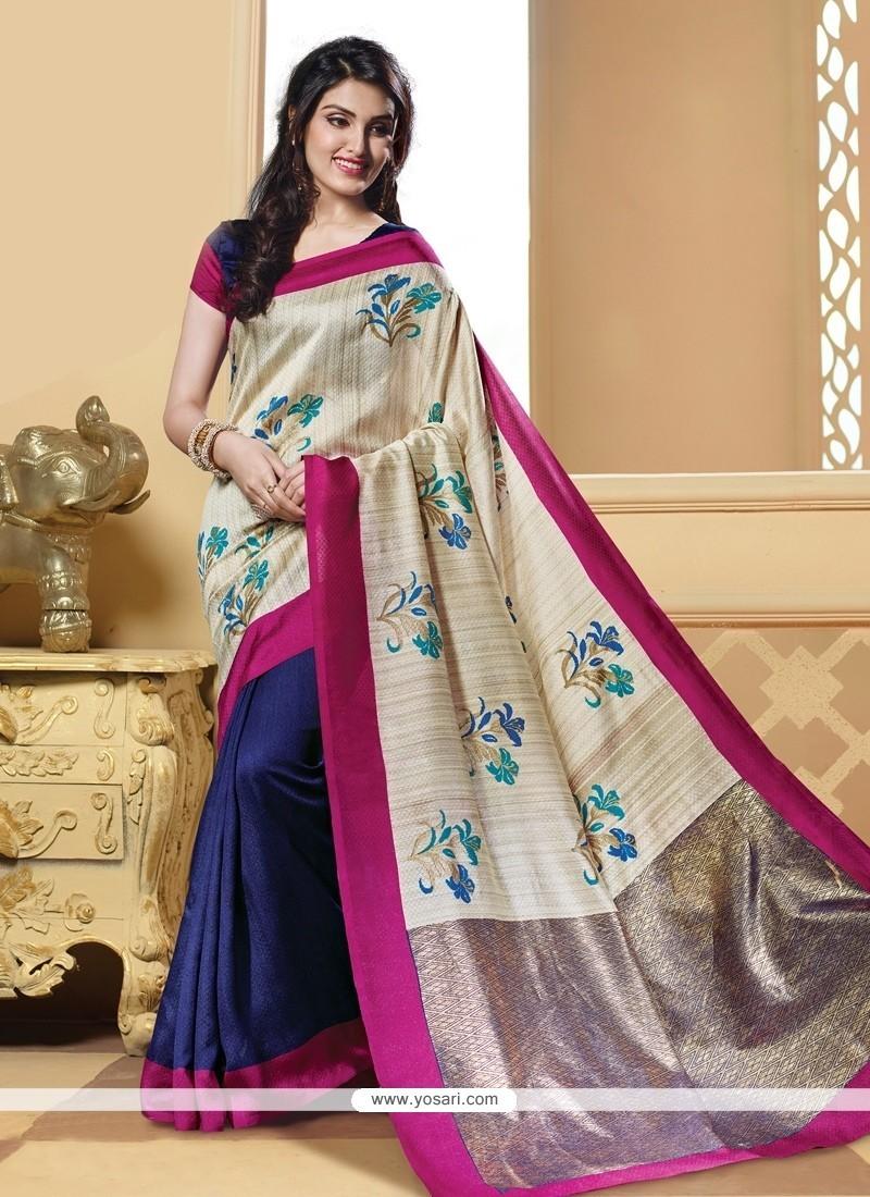 Impressive Print Work Navy Blue Silk Printed Saree