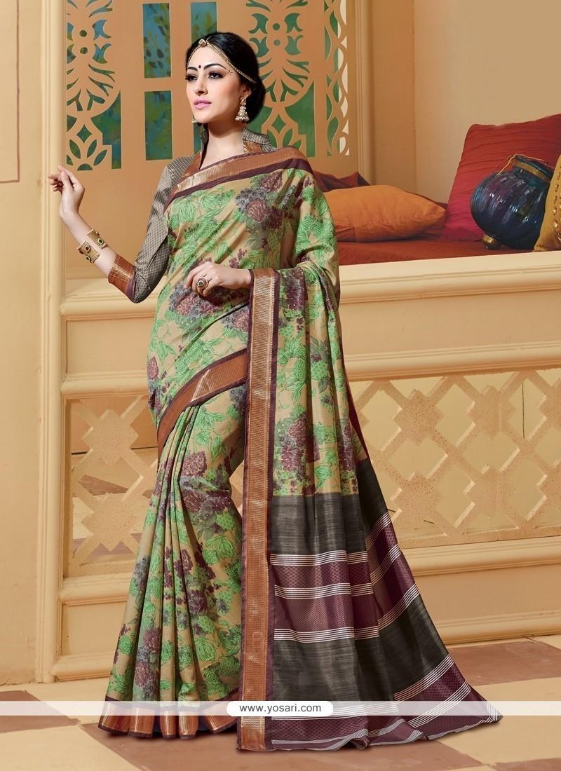 Spectacular Print Work Silk Printed Saree