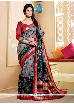 Artistic Silk Multi Colour Print Work Printed Saree
