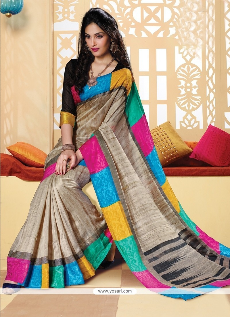 Scintillating Silk Multi Colour Print Work Printed Saree