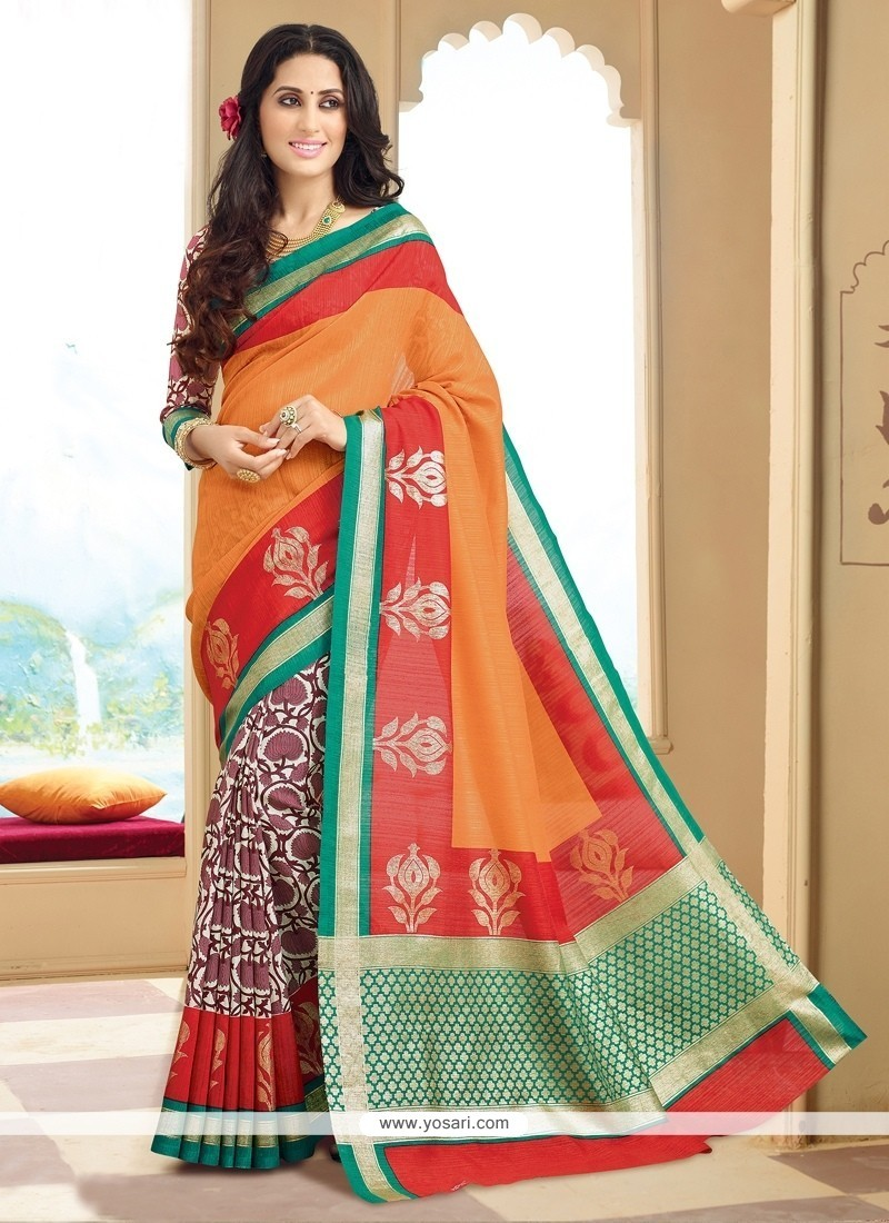 Charismatic Silk Print Work Printed Saree