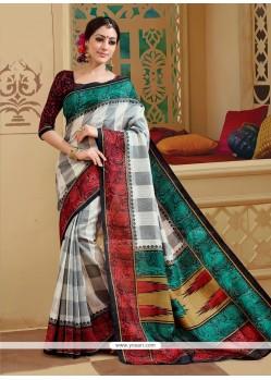 Absorbing Silk Multi Colour Print Work Printed Saree