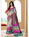 Captivating Silk Multi Colour Printed Saree