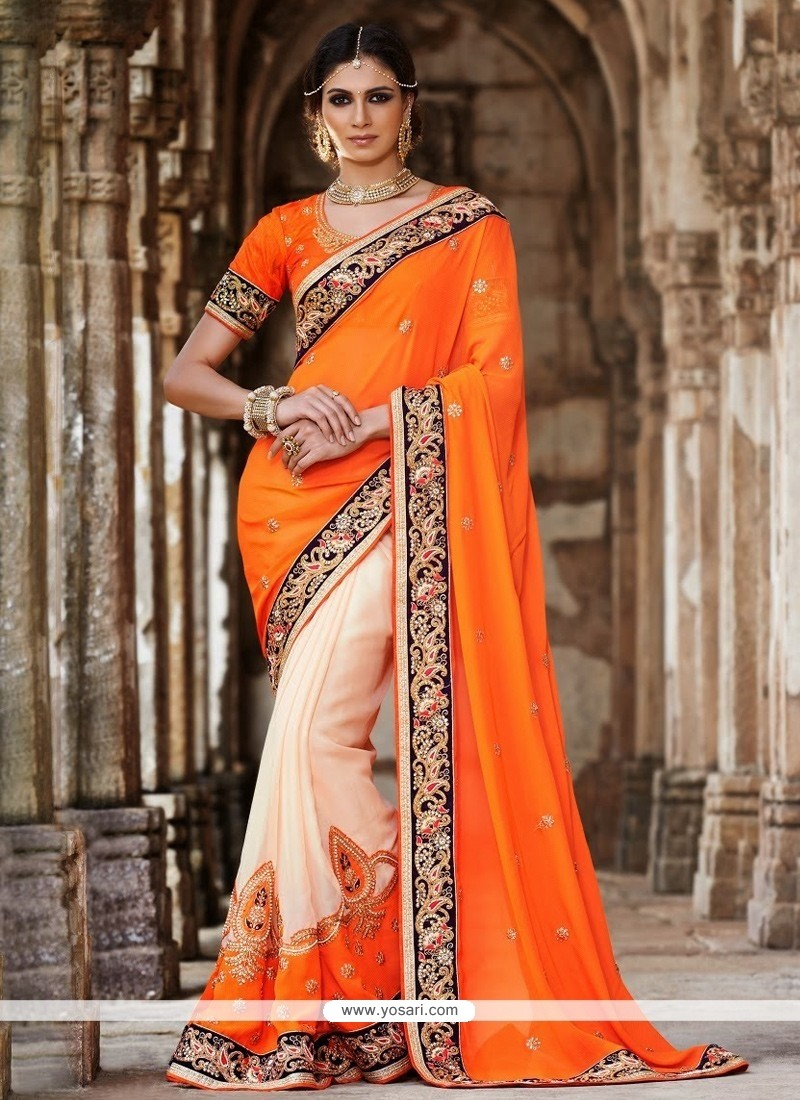 Glorious Orange Georgette Designer Saree