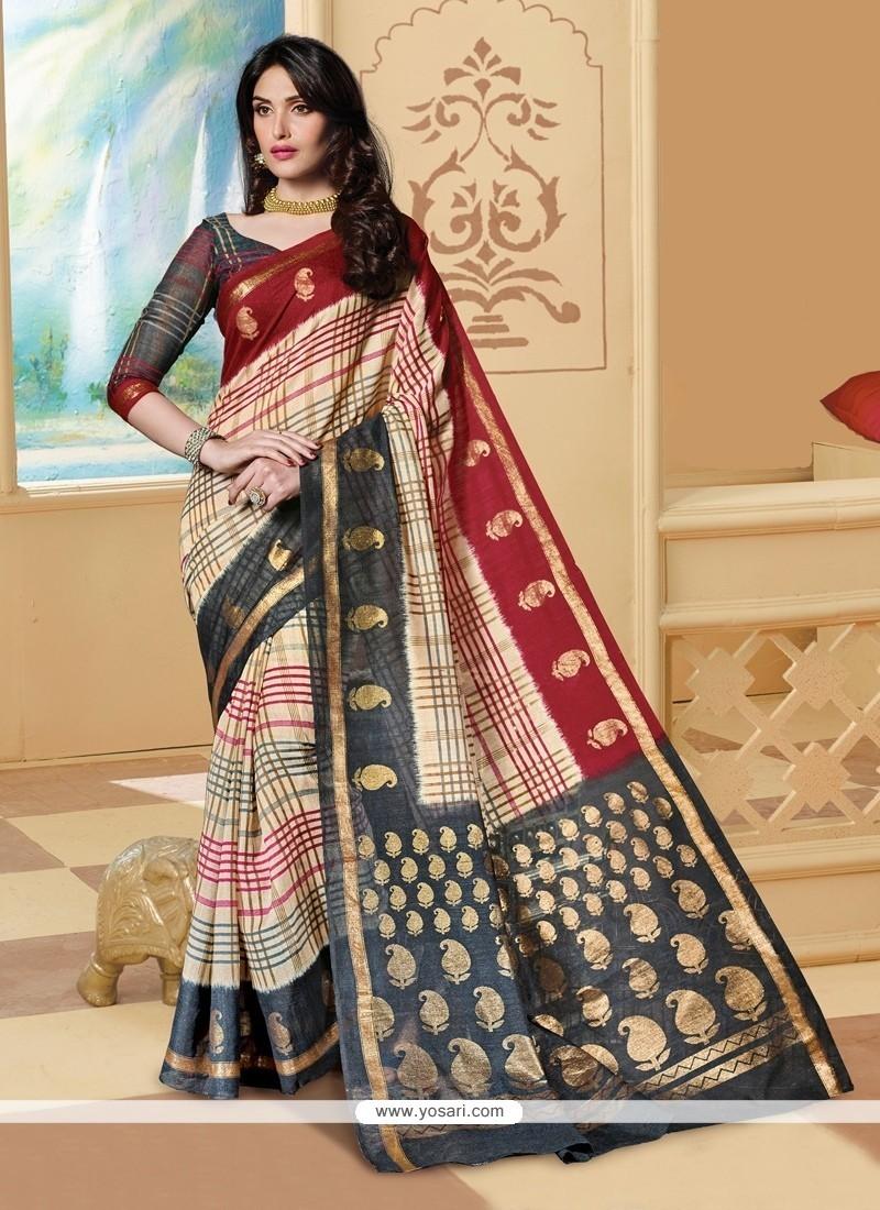 Beckoning Multi Colour Print Work Silk Printed Saree