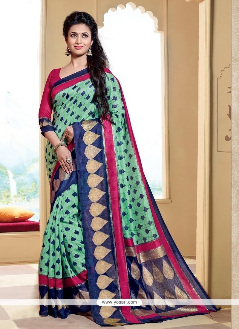 Deserving Multi Colour Silk Printed Saree