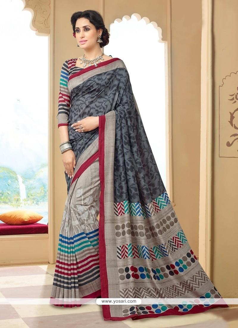 Attractive Print Work Silk Printed Saree