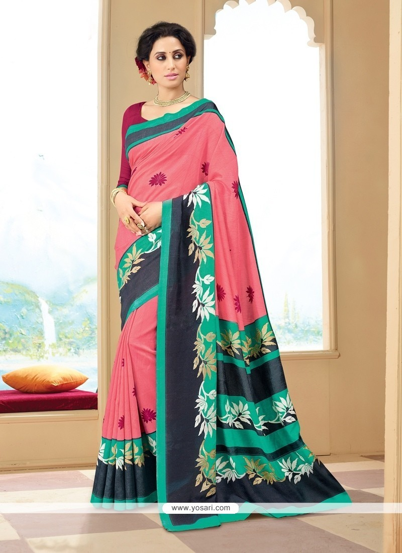 Absorbing Print Work Multi Colour Silk Printed Saree