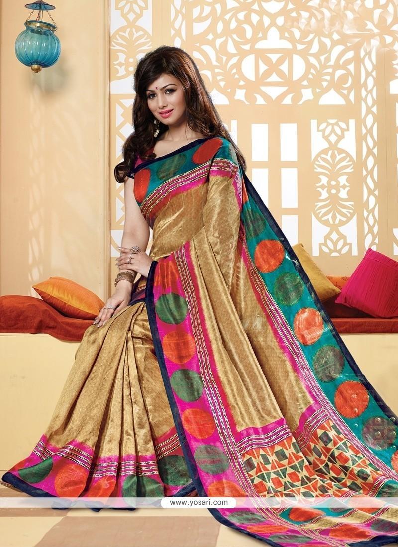 Entrancing Silk Multi Colour Printed Saree