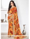 Tempting Print Work Multi Colour Georgette Printed Saree