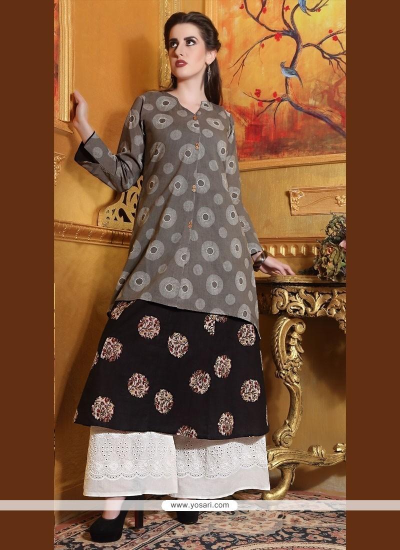 Incredible Black Cotton Designer Kurti