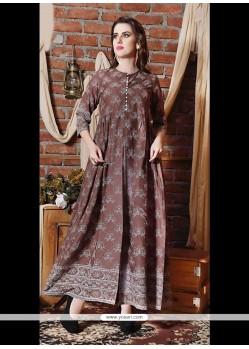 Breathtaking Cotton Brown Designer Kurti